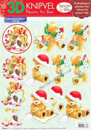 Christmas Popcorn The Bear No 17 3d Decoupage Craft Sheet